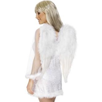 Doplňky na karneval - Křídla - péřová - bílá - 50 x 60 cm