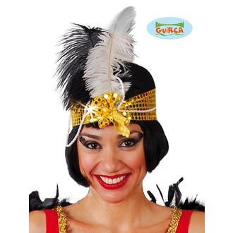 Klobouky - čepice - čelenky - Charlestonový klobouk s peřím