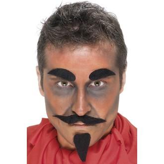 Doplňky na karneval - Knír, bradka a obočí Čert černé