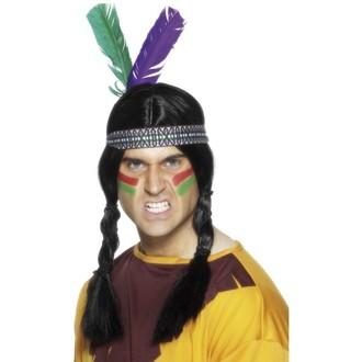 Doplňky na karneval - levná Indiánská čelenka se 2 pery
