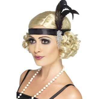 Doplňky na karneval - Čelenka Charlestone černý satén