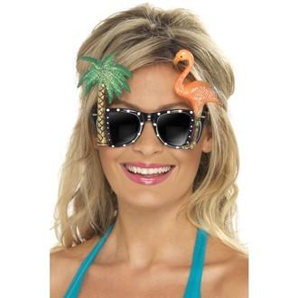 Havajské sukně - věnce - Brýle s palmou a plameňákem