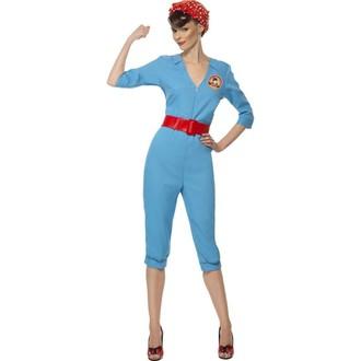 Kostýmy pro dospělé - Dámský kostým Retro zaměstnankyně továrny