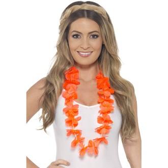 Havajské sukně - věnce - Havajský květinový věnec oranžový
