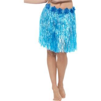 Havajské sukně - věnce - Havajská sukně modrá 40 cm s květinami