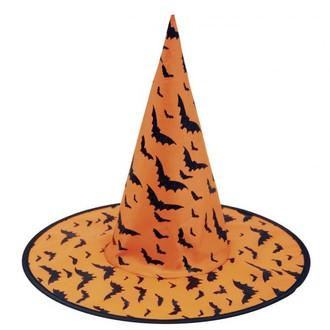Čarodějnice - Klobouk Čarodějnice oranžový s netopýry