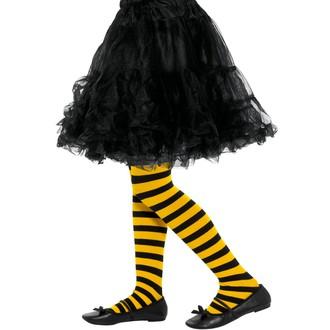Doplňky na karneval - Dětské punčocháče pruhované žlutá a černá