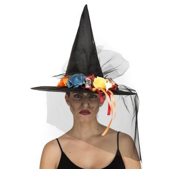Čarodějnice - Klobouk Čarodějnice s barevnými kytkami