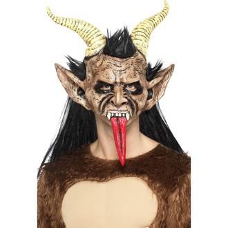 Čert - Mikuláš - Anděl - Maska s vlasy Čert s rohy