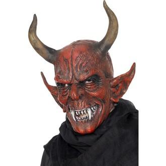 Čert - Mikuláš - Anděl - Maska čert s velkými rohy - celohlavová maska