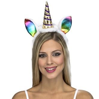Klobouky - čepice - čelenky - Čelenka s ocasem Jednorožec, duhové uši