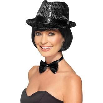 Klobouky - čepice - čelenky - Flitrový klobouk černý