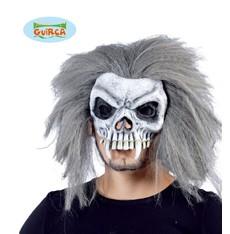 maska Halloween - Lebka s vlasy