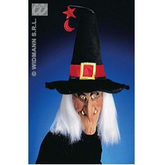 čarodejnická maska s kloboukem a vlasy