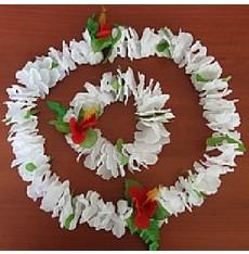 Bílý havajský květinový věnec+ náramek