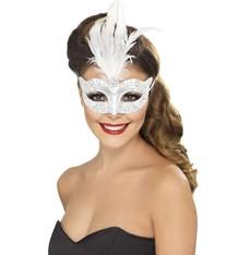 Benátská maska s glitry bílá