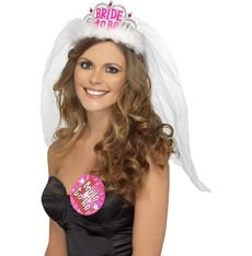 Čelenka se závojem Bride to be bílá