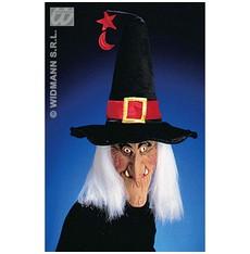 maska čarodějnice s kloboukem a vlasy