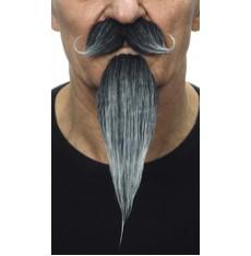 Zakroucený knír a dlouhá bradka černošedý