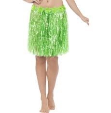 Havajská sukně zelená 40 cm s květinami
