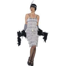 Kostým Flapper dlouhé, stříbrné