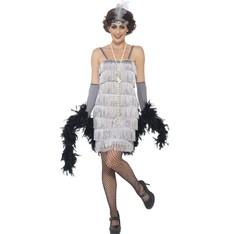 Kostým Flapper krátké, stříbrné