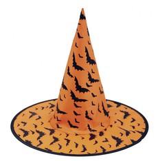 Klobouk Čarodějnice oranžový s netopýry