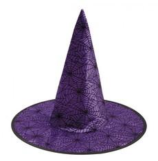 Klobouk Čarodějnice fialový s pavučinami