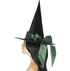 Klobouk Čarodějnice zelená mašle