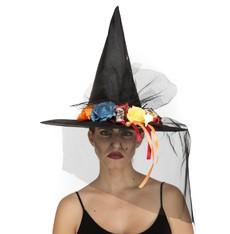Klobouk Čarodějnice s barevnými kytkami