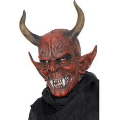 Maska čert s velkými rohy - celohlavová maska